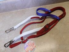 2 Ply Red White Royal Blue Horse America Parade Headstall Bridle Easy Snaps USA