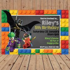 Personalised LEGO BATMAN ROBIN JOKER Kids Birthday Invitations Invites YOU PRINT