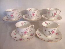 Crown Staffordshire England 5 Footed Cups & Saucers Pink Roses Gold Trim CRS15