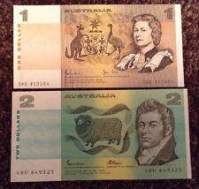 2 X Australia Banknotes. 1 & 2 Dollars. Uncirculated. P42d & P43e.