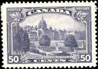 Mint Canada 50c VF 1935 Scott #226 King George V Pictorial Stamp Hinged