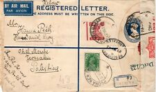 India-Palestine uprated censored registered postal stationery cover