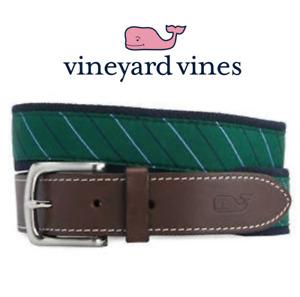 New Vineyard Vines Stripe Canvas Club Belt Charleston Green Men's Size 32