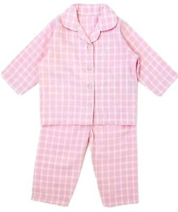 New Baby Ex Chain-store Girls Pink Checked Cotton Winceyette Button Pyjamas Pjs