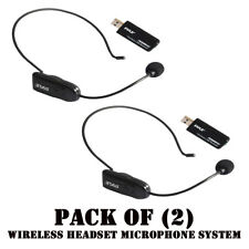 Pack of (2) Pyle PUSBMIC52 Wireless Headset Microphone System W/ USB Receivers