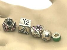 Chamilia & Other 925 Sterling Silver Lot of 5 Charms Loose Beads Heart 15 Sport