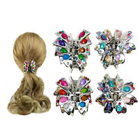 4 Silver Hair Comb Hair Holder Hair Claw Clips for Women w/Gem Stones Assorted