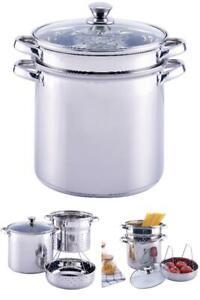 Pasta Cooker Steam Pot Stainless Steam Steamer 8 Quart Cooking Spaghetti 4 Pcs