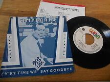 "7"" POP SIMPLY RED-ev 'ry time I Say Goodbye (2) canzone WEA Elektra presskit"