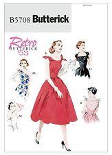 BUTTERICK SEWING PATTERN 5708 MISSES RETRO SHOULDER TIE DRESS c1953  SIZES 6-14