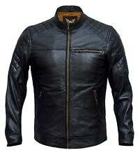 Men Slim Fit Vintage Look Retro Motorcycle Biker Genuine Real Leather Jacket