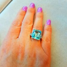 Brazilian Sea-Water Blue Aquamarine 18.54ct With Sparkly 0.70CT CZ Wedding Ring
