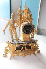 ANCIENNE Pendule Horloge Dorure avec clé époque XIXème haut 45cm