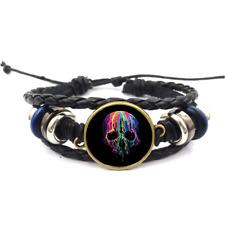 Melting Skull Glass Cabochon Bracelets Braided Leather Strap Bracelet