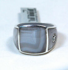 David Yurman Men's Three Sided Botswana Agate Signet Ring Silver Sz 11 $850 NWT