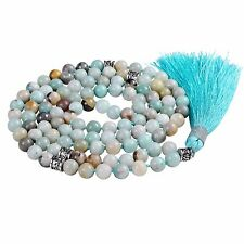 Amazonite Gemstone Mala Prayer Beads Necklace with tassel, knotted mala beads