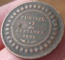 Monnaie Tunisie 2 centimes Ali III 1891 A