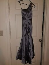 BEBE Long Gown- Silver, worn once. Size 4.