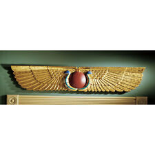 Winged Sun Disk Egyptian Goddess Nekhebet & Buto Sculptural Wall & Door Pediment