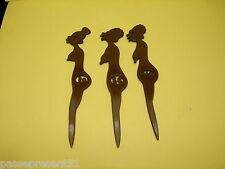 3 jolis anciens touilleurs, agitateurs, femmes nues noires, ZULU LULU
