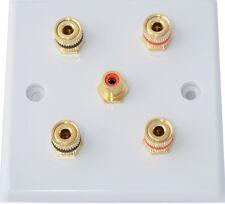Slimline White 2.1 Audio Speaker Wall Plate Gold 4 Binding Post+1 RCA Non-Solder