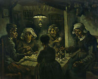 Van Gogh The Potato Eaters Peasant Dinner Painting 8x10 Real Canvas Art Print