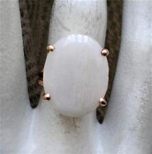 European Designer 14K 585 Yellow Gold Milky White Agate Cocktail Ring 14kt 6.8 g