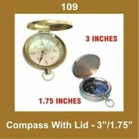 New Vintage 3 Inch Compass With Lid Brass Nautical Collectables