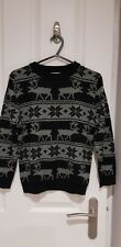 M&Co Kids Boys Age 7-8 black&white Christmas Long Sleeve Top Xmas Jumper Day