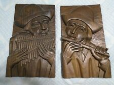 "Pair of Carved Wood Plaques 11""x18"" ~ Peruvian Men Playing Flutes"