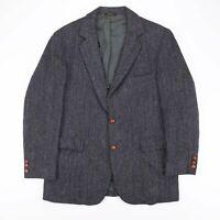 Vintage RACONTEUR Harris Tweed Grey 90s Wool Formal Overcoat Blazer Mens L