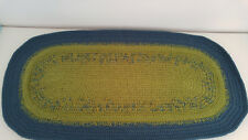 Oval Rug, 33''x17'', GREEN & BLUE, hand-crocheted by Maria Radchik with love