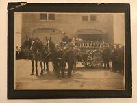 Rare Antique Portland Oregon Rose Parade Fire Truck And Horses Cabinet Photo