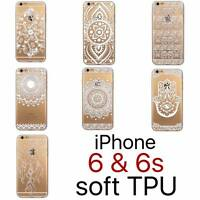White Henna Hamsa Flower Lace iPhone 6 6s Clear Transparent Soft TPU Case Cover