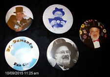 5 Vintage Dr. Demento Pin Buttons Button Music Radio Show Fan Club Stay Demented