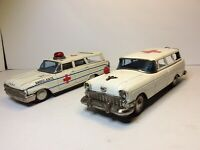 🔥Vintage Japan Tin Metal Friction Ambulance Toy Car W/ Siren + Ford Wagon READ
