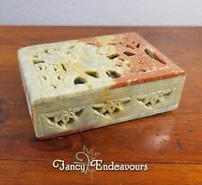 Chinese Carved Soapstone Lion Attacking Elephant Pierced Reticulated Hinged Box