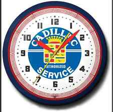 Cadillac Service Neon Wall Clock Hand Made In The USA 20 Inch Diameter