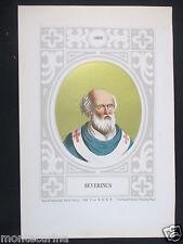 1879 PAPA SEVERINO SEVERINUS ANTICA STAMPA CROMOLITOGRAFIA PAPI POPE SAN D247 m