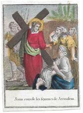 XVIIIsec JESUS CONSOLE FEMME santino holy card via crucis 8 Gesu consola donne