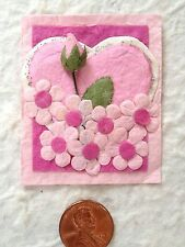 2 Heart rosebud Pink Heart Floral toppers Valentines Mother's Day wedding cards