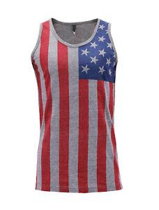 Men's Patriotic Sleeveless Shirt  American Flag  Summer Beach USA Tank Top