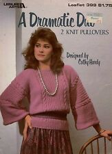 Leisure Arts 399 Dramatic Duo 2 Knit Pullovers Knitting Patterns Vintage 1985