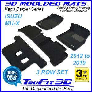 For ISUZU MUX MU-X Wagon 2012 - 2021 Genuine 3D Black Carpet floor Mats 3Rows