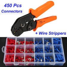 450pcs Spade Butt Ring Electrical Wire Terminal Connector Kit + Crimper Plier