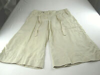 London Jeans 100% Linen Chino Marisa Fit Pants Capri Beige Sz 6 [32W -18L]