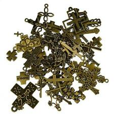 50pcs Assorted Lots Antique Bronze Cross Charms Pendants Jewelry Making