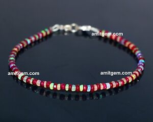 Natural  Ruby Ethiopian Opal Rondelle beaded bracelet With silver lock 126a