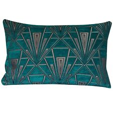 XL Art Deco Cushion. Luxury Velvet Chenille. Teal and Silver Geometric Design.