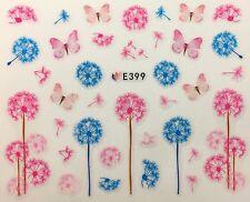 Nail Art 3D Decal Stickers Pink & Blue Dandelion & Butterflies E399